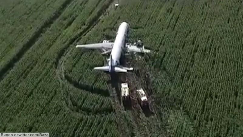 Экстренная посадка в Жуковском: пассажирский самолет приземлился прямо в поле.